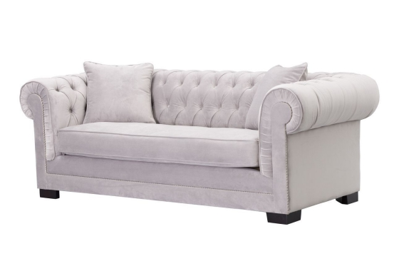 Dekoria.pl_sofa Chesterfield Classic Velvet Light Grey